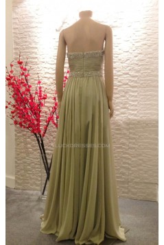 A-Line Strapless Beaded Long Chiffon Prom Evening Formal Dresses ED011464