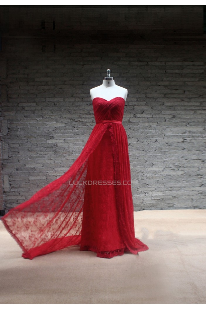 Sheath/Column Sweetheart Long Red Lace Prom Evening Formal Dresses ED011467