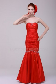 Trumpet/Mermaid Sweetheart Long Red Beaded Prom Evening Formal Party Dresses ED010147