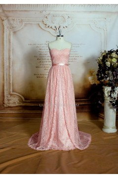 Sheath/Column Sweetheart Long Pink Lace Prom Evening Formal Dresses ED011470