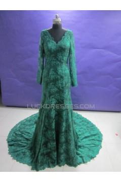 Trumpet/Mermaid V-Neck Long Sleeve Prom Evening Formal Dresses ED011471