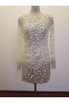 Bateau Long Sleeve Beaded Short Prom Evening Formal Dresses ED011473