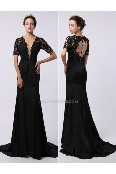 Trumpet/Mermaid Short Sleeve Beaded Applique Long Black Prom Evening Formal Dresses ED011474