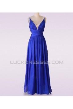 A-Line V-Neck Beaded Long Blue Chiffon Prom Evening Formal Dresses ED011475