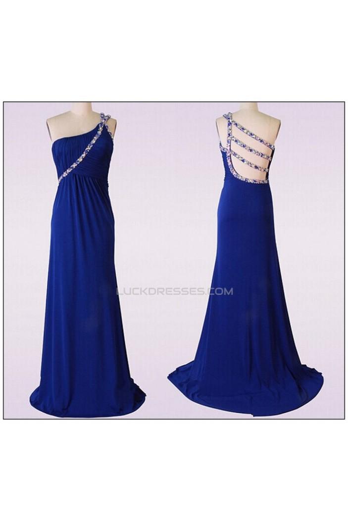 Sheath/Column Beaded One-Shoulder Long Blue Chiffon Prom Evening Formal Dresses ED011476