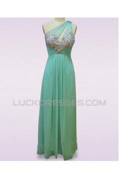 Sheath/Column One-Shoulder Beaded Long Blue Chiffon Prom Evening Formal Dresses ED011477