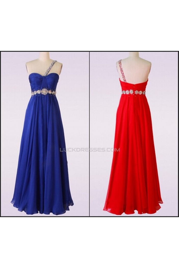 A-Line One-Shoulder Beaded Long Chiffon Prom Evening Formal Dresses ED011479