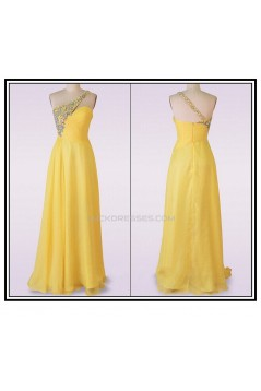 A-Line One-Shoulder Long Yellow Chiffon Prom Evening Formal Dresses ED011481