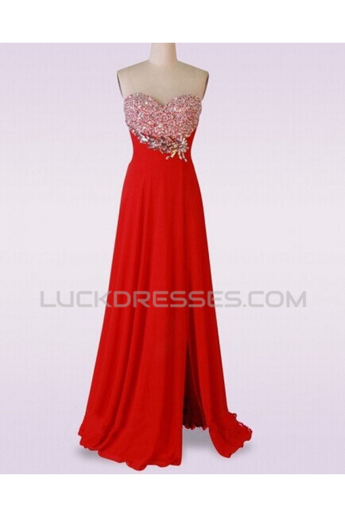A-Line Sweetheart Beaded Long Red Chiffon Prom Evening Formal Dresses ED011482
