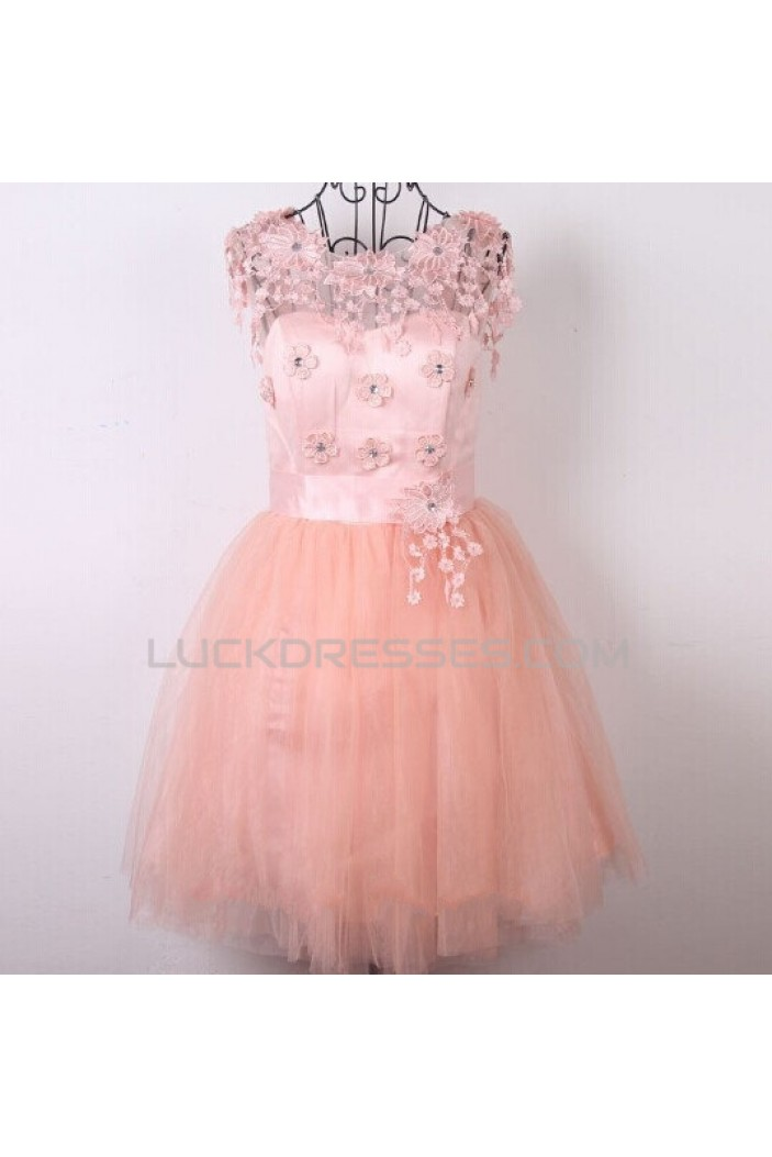 Short Pink Beaded Prom Evening Cocktail Dresses ED011484