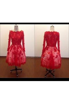 A-Line Long Sleeve Short Red Lace Prom Evening Formal Dresses ED011485