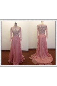 A-Line Bateau Beaded Long Pink Chiffon Prom Evening Formal Dresses ED011486