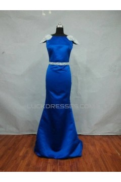 Trumpet/Mermaid Cap-Sleeve Bateau Beaded Long Blue Satin Prom Evening Formal Dresses ED011487