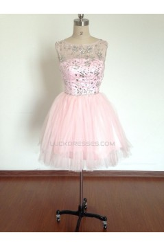 A-Line Beaded Short Pink Prom Evening Cocktail Dresses ED011488