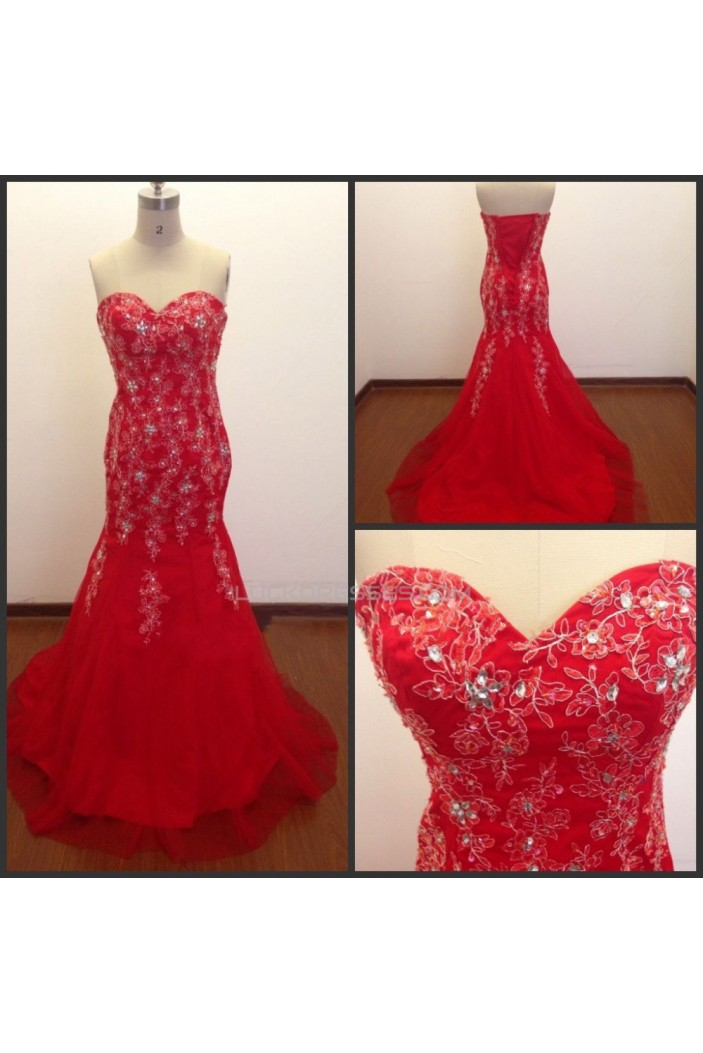 Trumpet/Mermaid Sweetheart Beaded Long Red Prom Evening Formal Dresses ED011489