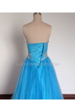 A-Line Sweetheart Beaded Long Blue Tulle Prom Evening Formal Dresses ED011491