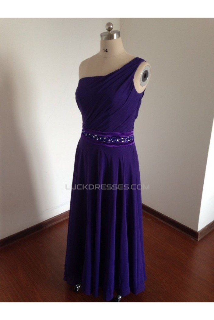 A-Line One-Shoulder Beaded Long Chiffon Prom Evening Bridesmaid Dresses ED011494