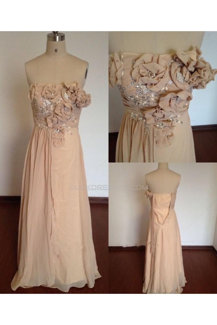 A-Line Strapless Long Chiffon Prom Evening Formal Dresses ED011495