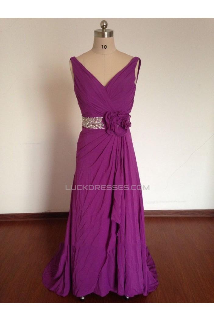 A-Line V-Neck Beaded Long Purple Chiffon Prom Evening Formal Dresses ED011496
