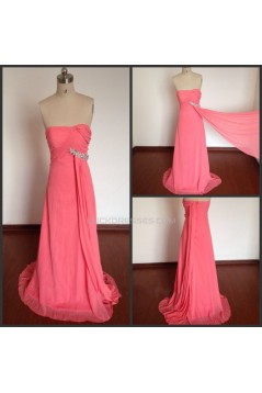 A-Line Strapless Beaded Long Pink Chiffon Prom Evening Formal Dresses ED011498