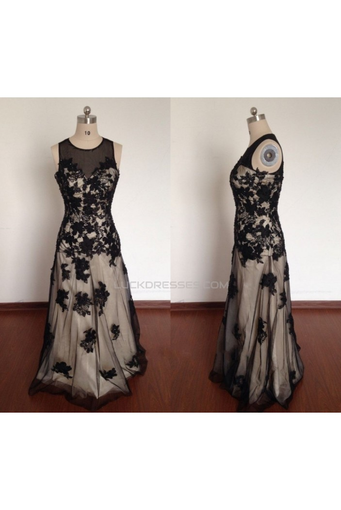 A-Line Jewel Long Black Prom Evening Formal Dresses ED011499