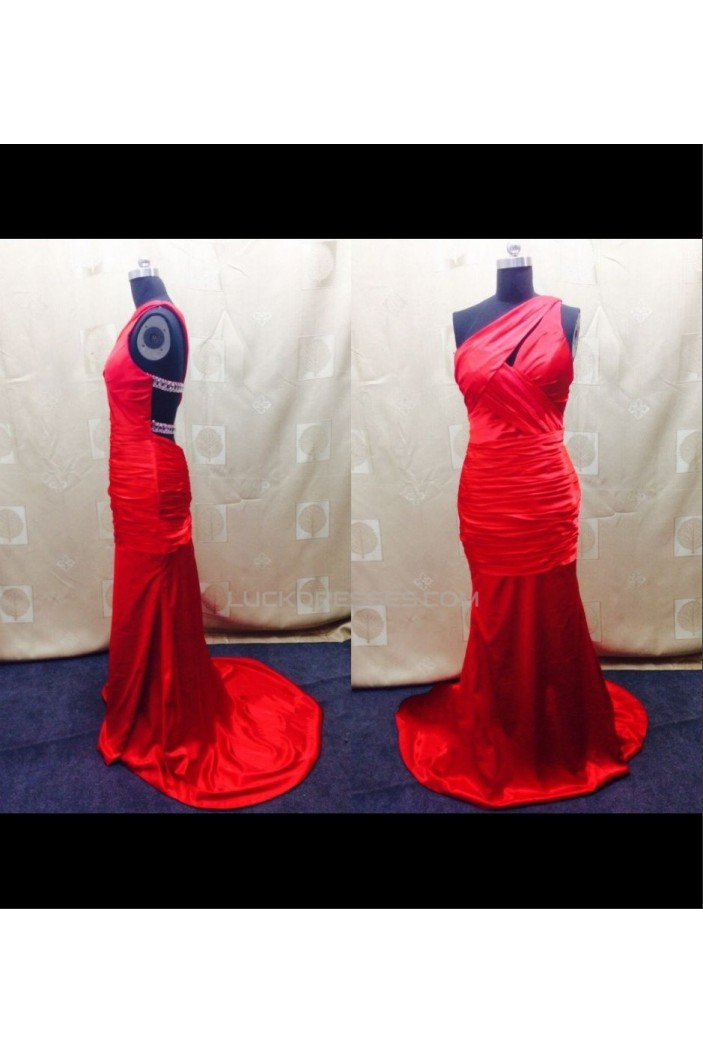 Trumpet/Mermaid One-Shoulder Long Red Prom Evening Formal Dresses ED011500