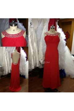 A-Line Beaded Long Red Chiffon Prom Evening Formal Dresses ED011501