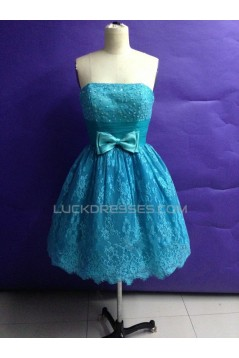 A-Line Strapless Short Beaded Blue Lace Prom Evening Bridesmaid Dresses ED011502