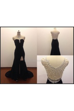 Beaded Long Black Chiffon Prom Evening Formal Dresses ED011504