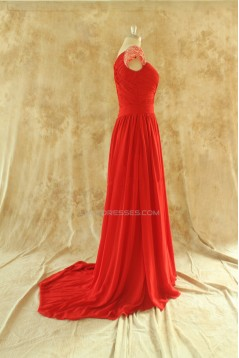 A-Line Beaded Cap-Sleeve Long Red Chiffon Prom Evening Formal Dresses ED011509