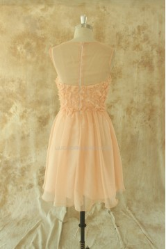 A-Line Bateau Short Chiffon Prom Evening Formal Dresses ED011510