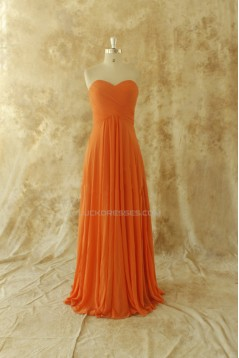 A-Line Sweetheart Long Chiffon Prom Evening Bridesmaid Dresses ED011511