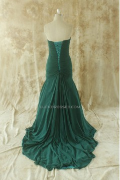 A-Line Sweetheart Pleated Long Chiffon Prom Evening Formal Dresses ED011512