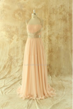 A-Line Halter Long Chiffon Prom Evening Formal Dresses ED011513
