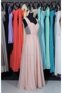 A-Line Straps Long Pink Chiffon Prom Evening Formal Dresses ED011514