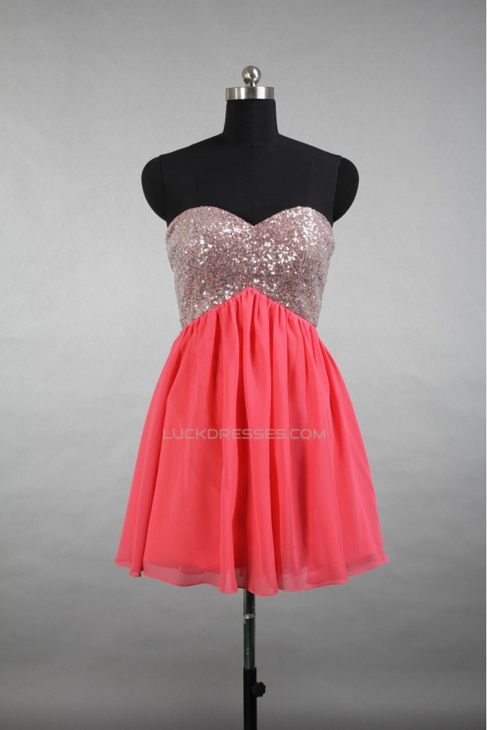 A-Line Sweetheart Short Sequin and Chiffon Prom Evening Cocktail Dresses ED011515