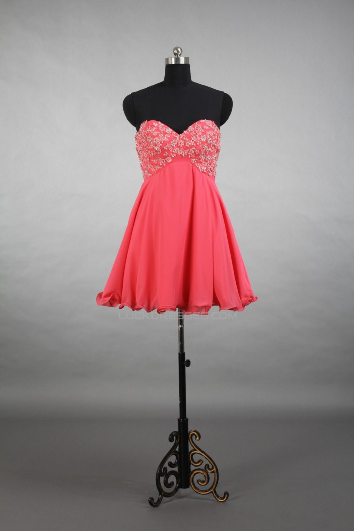 A-Line Sweetheart Beaded Short Chiffon Prom Evening Cocktail Dresses ED011518