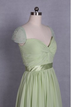 A-Line Beaded Cap-Sleeve Long Chiffon Prom Evening Formal Dresses ED011521