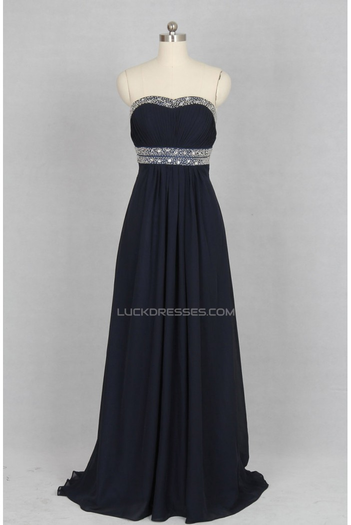 A-Line Strapless Beaded Long Chiffon Prom Evening Formal Dresses ED011522