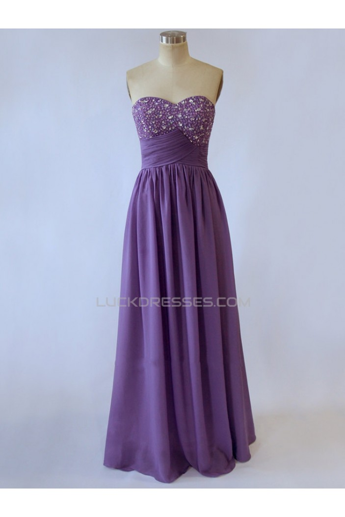 A-Line Sweetheart Beaded Long Purple Chiffon Prom Evening Formal Dresses ED011524