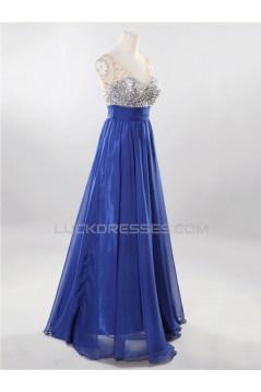 A-Line V-Neck Beaded Long Chiffon Prom Evening Formal Dresses ED011526