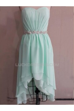 High Low Sweetheart Beaded Short Chiffon Prom Evening Bridesmaid Dresses ED011528