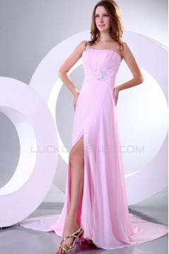 Long Pink One-Shoulder Prom Evening Formal Party Dresses ED010153