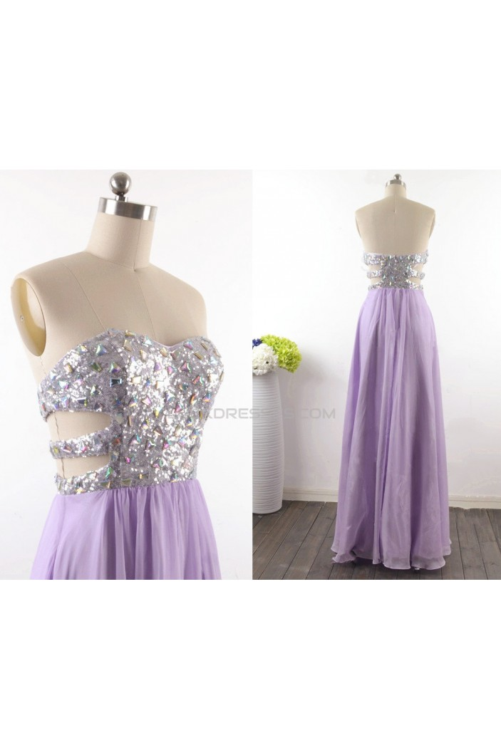 A-Line Strapless Long Beaded Sequin and Chiffon Prom Evening Formal Dresses ED011530