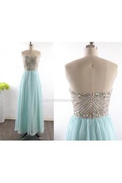A-Line Sweetheart Beaded Long Chiffon Prom Evening Formal Dresses ED011531