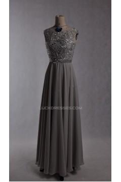 A-Line Beaded Long Grey Chiffon Prom Evening Formal Dresses ED011535