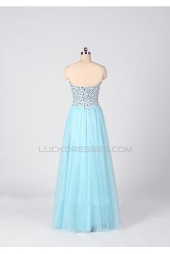 A-Line Sweetheart Beaded Tulle Long Prom Evening Formal Dresses ED011536