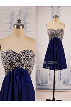 A-Line Sweetheart Beaded Short Blue Chiffon Prom Evening Formal Dresses ED011538