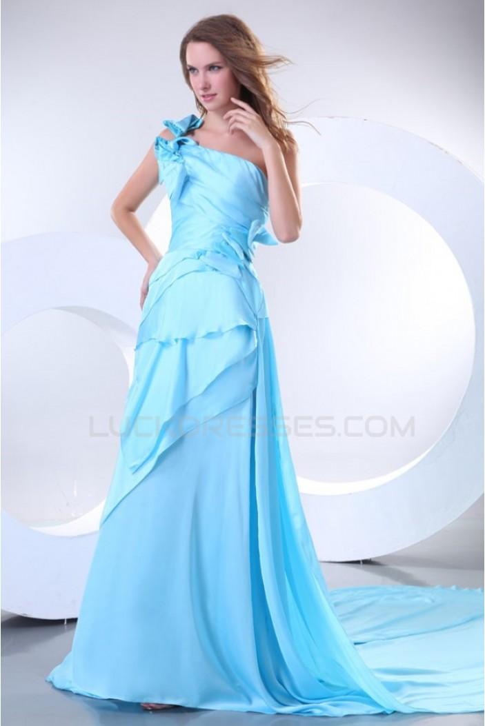 Long Blue One-Shoulder Prom Evening Formal Party Dresses ED010154