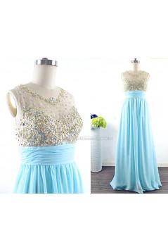 A-Line Beaded Long Blue Chiffon Prom Evening Formal Dresses ED011541